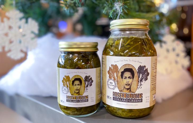Rosey Blooms Collard Greens Winston Salem. 16 oz and 32 oz jars.