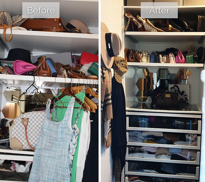Before and after shot of a wardrobe session