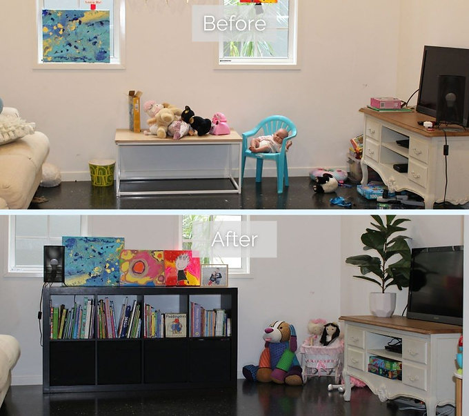 Before and after of a cluttered toyroom