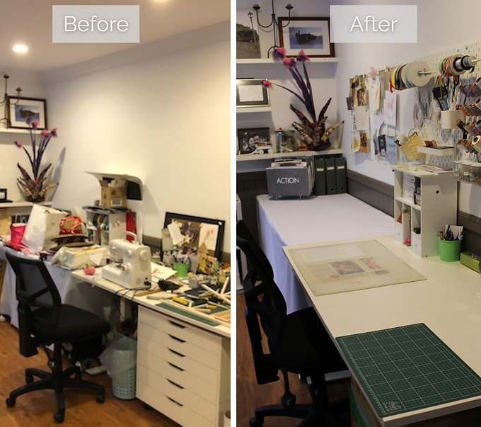 Before and after of a cluttered craft room