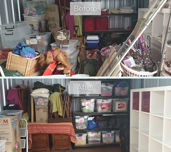 Before and after of a cluttered storage shed