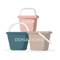 Tubs of items to keep, donate or sell