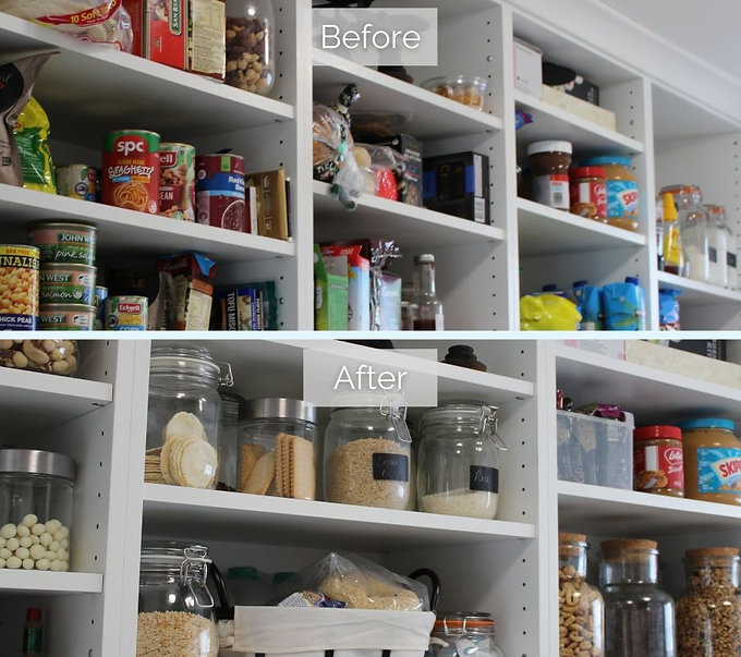 Before and after of a cluttered pantry