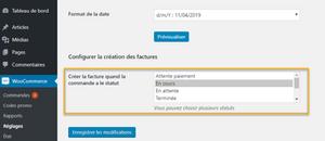 création et certification de facture automatique quand la commande passe à un statut : extension woocommerce kiwiz