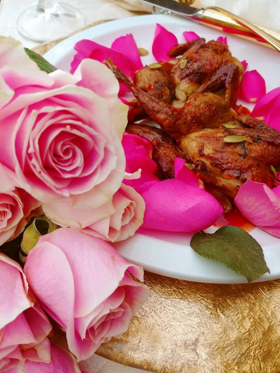 Quail in Rose Petal Sauce