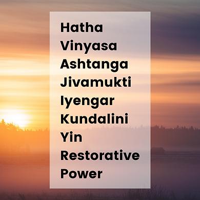 Hatha Vinyasa Ashtanga Jivamukti Iyengar