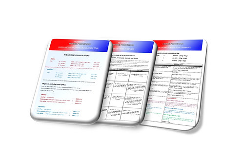 HOME Meal Plan Creation, Goal Setting + Calorie Calculator Reference Templates