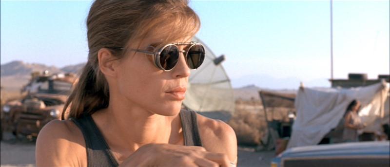 Actress Sarah Conner wearing Matsuda Sunglasses in Terminator 2.