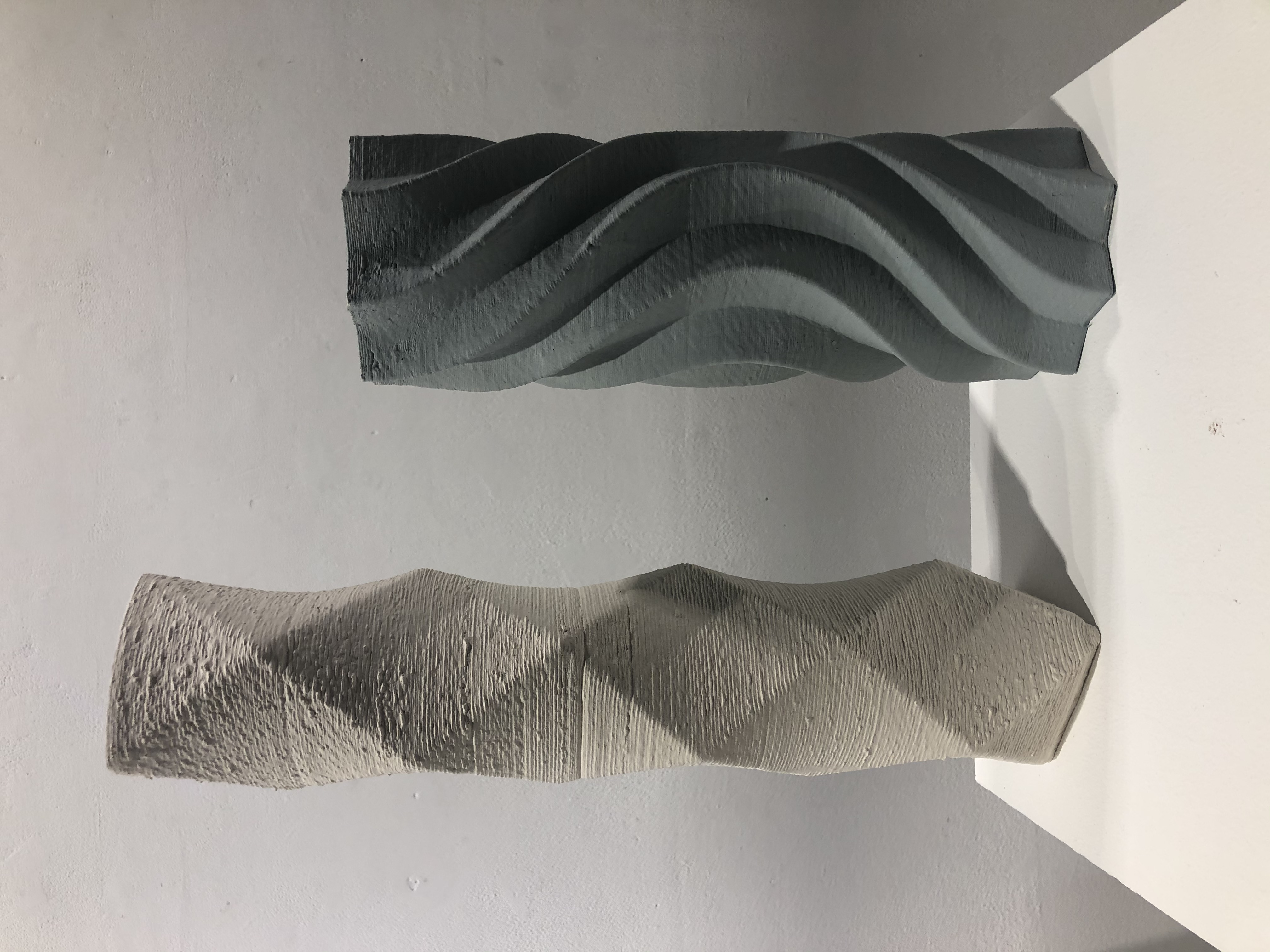 3D Stoneware Prints with coloured slips on exterior