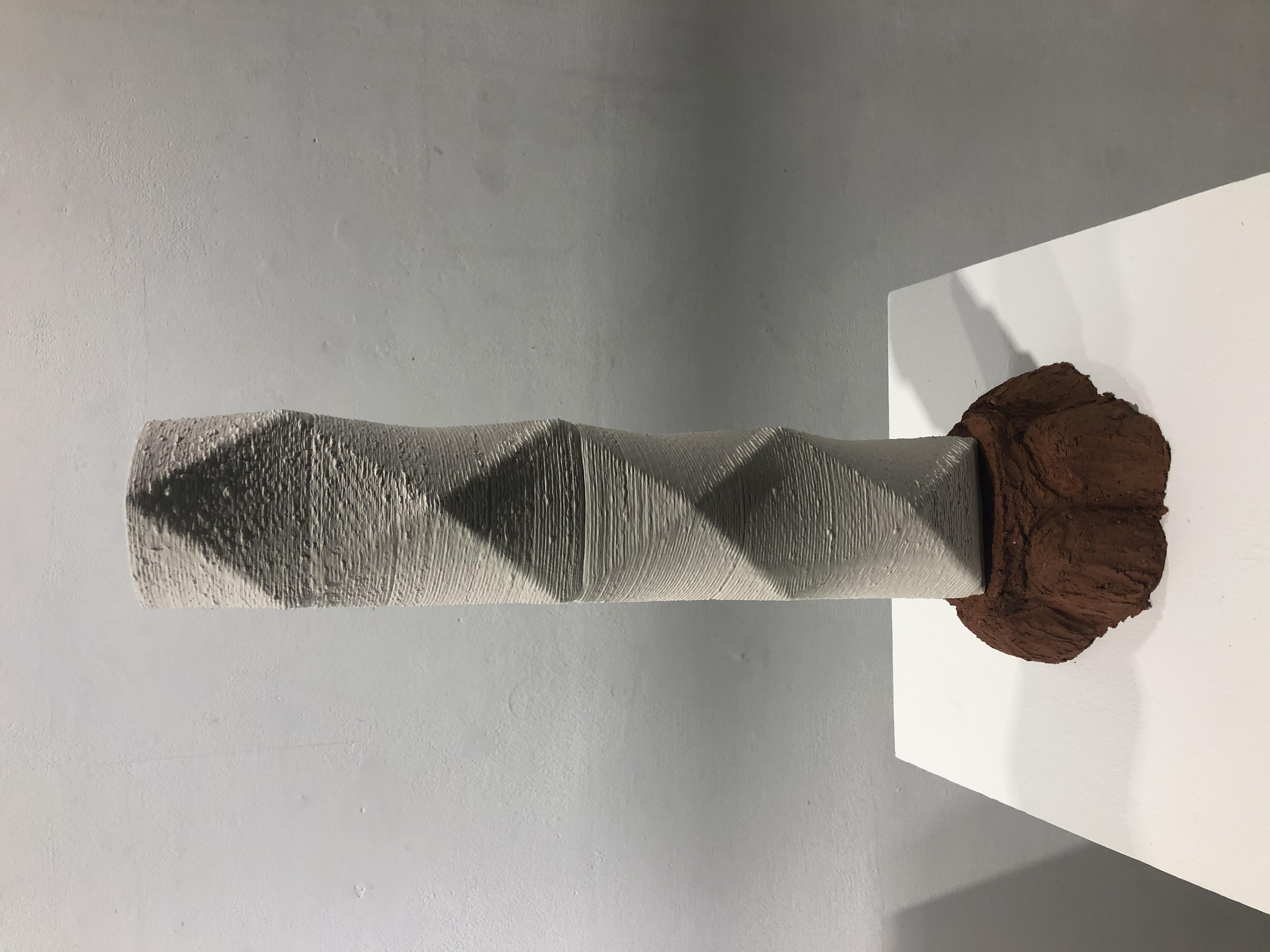3D Stoneware Print with brick clay handbuilt base