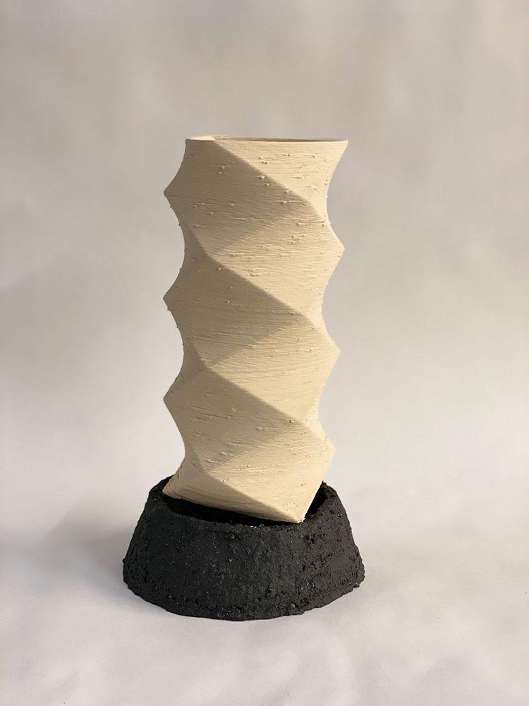 3D Stoneware Print with black stoneware handbuilt base