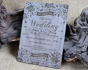 Wooden Engraved Invitation 260215