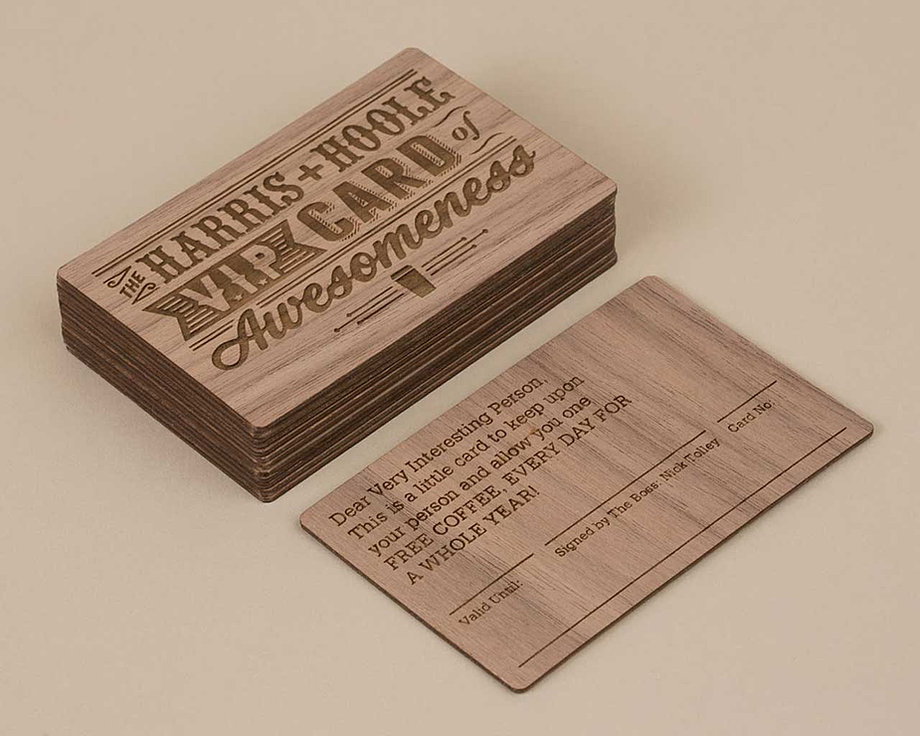 Wooden printed and engraved businesss cards