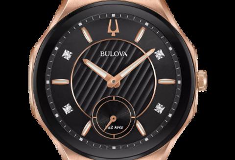 Bulova Curv Black Rubber Rose Gold IP SS Diamond 98R239 $995 Watch