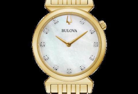 Bulova Regatta Yellow Gold SS White MOP Dial Diamond 97P149 Watch