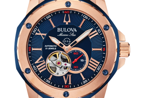 Bulova  Marine Star Blue RG Automatic 98A227 $595 Watch
