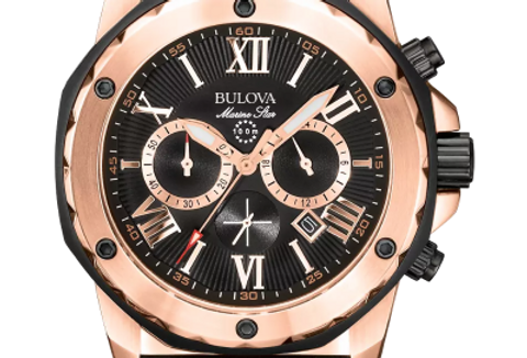 Bulova Marine Star Black Rose Gold SS Black Dial Chronograph 98B104 $525 Watch