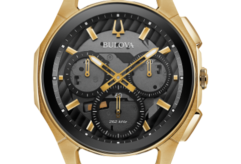 Bulova Curv Black Leather Gold IP SS Chronograph 97A143 $995 Watch