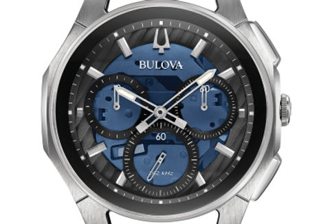 Bulova Curv Stainless Steel Blue Dial Chronograph 96A205 $1095 Watch