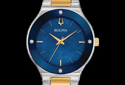 Bulova Millennia Two Tone SS Blue Dial Diamond 98R273 Watch
