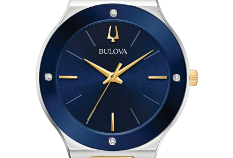 Bulova Millennia Two Tone SS Blue Dial Diamond 98E117 $450