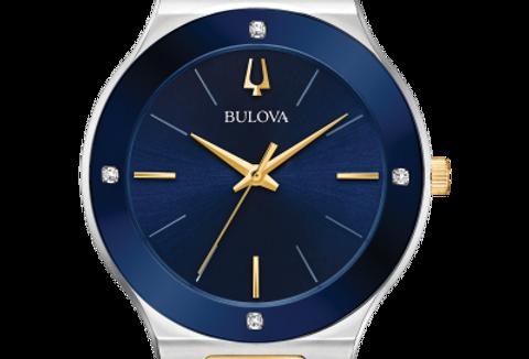Bulova Millennia Two Tone SS Blue Dial Diamond 98R273 $450 Watch