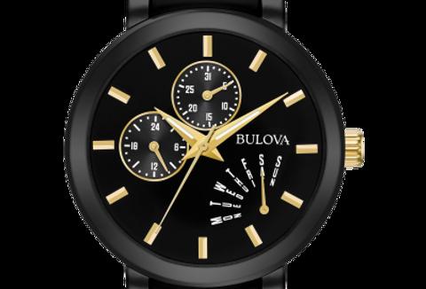 Bulova Futuro Two Tone Black Dial Date Day 98C124 $450 Watch