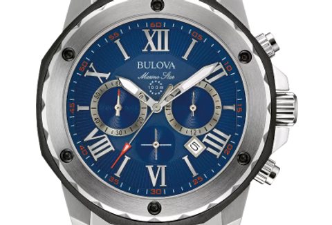 Bulova Marine Star Black SS Blue Dial Chronograph 98B258 $495 Watch