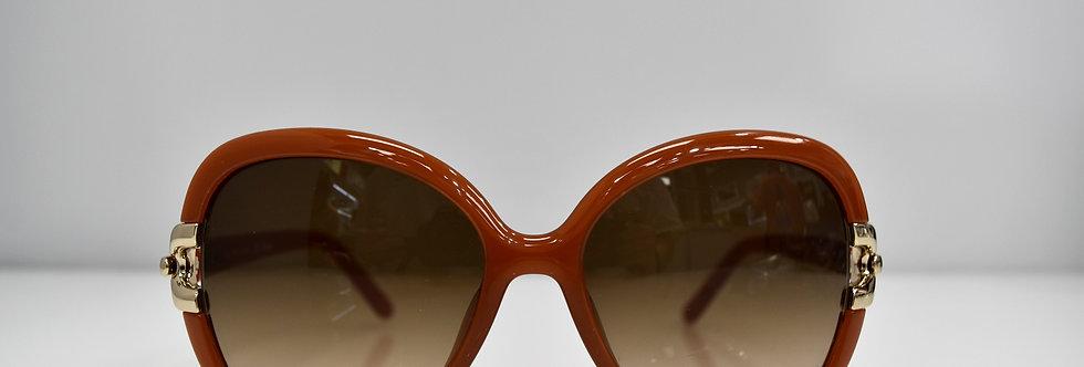 Chloe Brick Brown Gold Square Oversized CE637S 204 58-17-135 Sunglasses