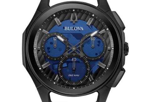 Bulova Curv Blue Leather Black SS Chronograph 98A232 $995 Watch