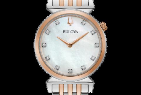 Bulova Regatta Two Tone RG SS White MOP Dial Diamond 98P192  Watch