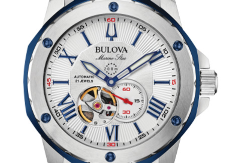 Bulova Marine Star Blue SS Automatic 98A225 $550 Watch