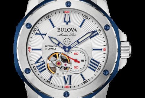 Bulova Marine Star Blue SS Automatic 98A225 $550 Watch