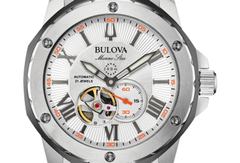 Bulova  Marine Star Orange SS Automatic 98A226 $550 Watch