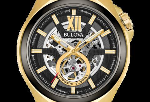 Bulova Maquina Automatic Skeleton YG Gunmetal  98A178 $675 Watch