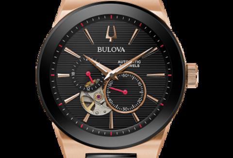 Bulova Latin GRAMMY Automatic Skeleton RG SS Black 98A236 $750 Watch