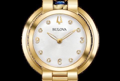 Bulova Rubaiyat Two Tone SS White Dial Diamond 97P125 Watch