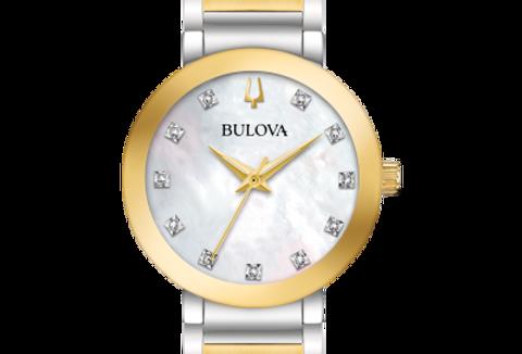 Bulova Futuro Two Tone SS White MOP Dial Diamond 98P180 Watch