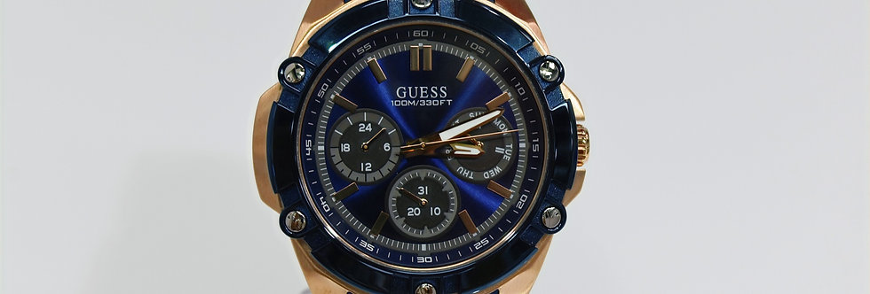 Guess Men's Blue Silicone Rose Gold SS W1302G4 Watch