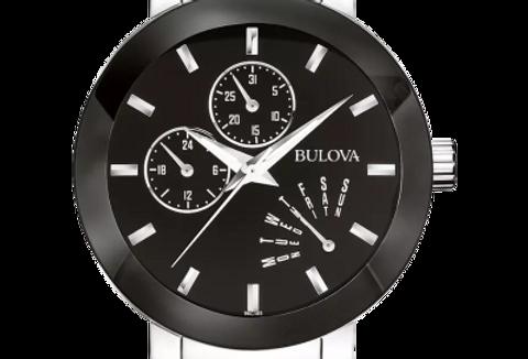 Bulova Futuro Stainless Steel Black Dial Date Day 96C105 $375 Watch