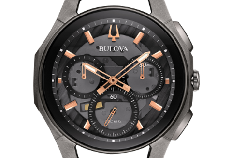 Bulova Curv Black Rubber Gunmetal SS Chronograph 98A162 $995 Watch