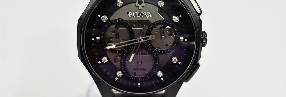 Bulova Curv Black Alligator Black SS Chronograph Diamond 98D152 $1550 Watch