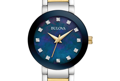 Bulova Futuro Two Tone SS Blue Dial Diamond 98P157 Watch