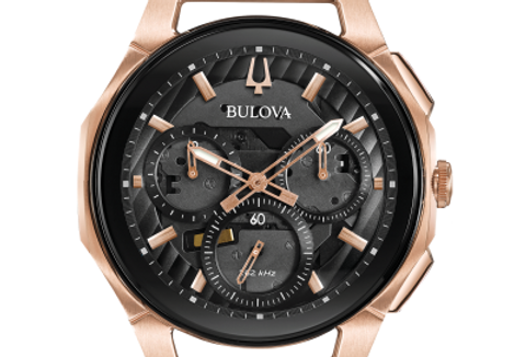 Bulova Curv Black Rubber Rose Gold IP SS Chronograph 98A185 $975 Watch