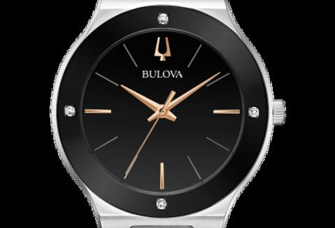 Bulova Millennia Stainless Steel Black Dial Diamond 96E117 $395 Watch
