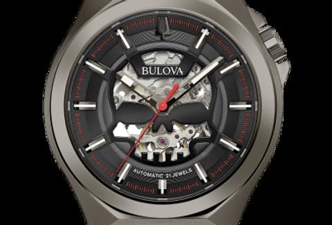Bulova Maquina Automatic Skeleton Gunmetal Leather  98A237 $595 Watch