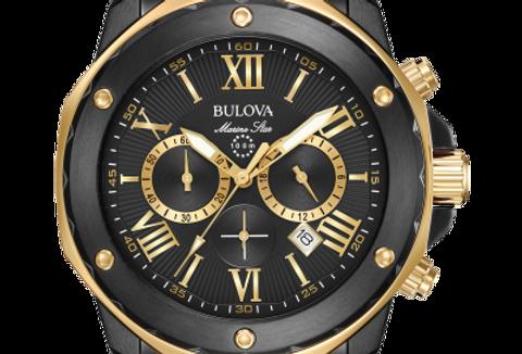 Bulova Marine Star Black Gold SS Black Dial Chronograph 98B278 $525 Watch