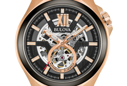Bulova Maquina Automatic Skeleton RG Black Rubber 98A177 $575 Watch