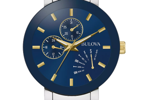 Bulova Futuro Two Tone SS Blue Dial Date Day 98C123 $425 Watch