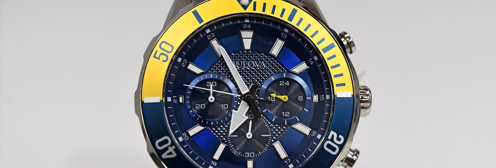 Bulova Stainless Steel Blue Dial Chronograph 98A245 $450 Watch
